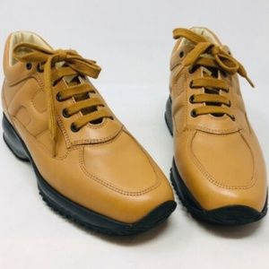 Hogan Tan Leather Sneakers 3-374-92319